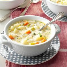 No-Fuss Potato Soup Recipe -For a busy-day supper, my family loves to have big steaming, delicious bowls of this soup, along with fresh bread from our bread machine. —Dotty Egge, Pelican Rapids, Minnesota