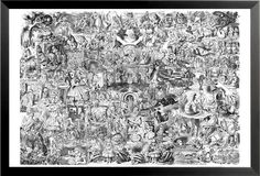 FRAMED Alice in Wonderland Collage 36x24 surrealistic Fantasy Art Print Poster