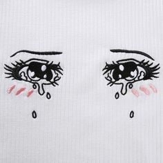 Cartoon Eyes Embroidery Ruffle Crop Top Fit T-Shirt Anime Crying Eyes, Anime Eyes, Regard Animal, Tears In Eyes, Cartoon Eyes, Cute Tattoos, Kawaii Tattoos, Anime Tattoos, Cute Eyes