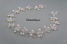 Bridal hair vines Silver wire vines Swarovski cream от Element4you