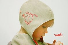 Baby hat Aviator pilot hat Linen Sun hat with helicopter embroidery