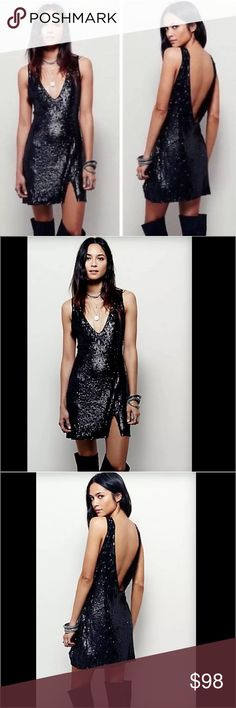 Free People Black Sequin Dress Free People Black Sequin Party Dress.  New without tags.  Sexy Pullover Style V Neck and Low Cut Mini Dress.  Body forming fit in both back & front with a small slit on one side.  This is a classic dress for Vegas or that evening occasion/ going out on the town!  Wear with some tall boots, open toe heels or stilettos!   Check out my Charles David black boots for inspiration. Free People Dresses Mini