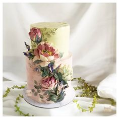 6 Wedding Cake Trends in 2020 Black Wedding Cakes, Beautiful Wedding Cakes, Gorgeous Cakes, Pretty Cakes, Amazing Cakes, My Birthday Cake, Painted Cakes, Buttercream Flowers, Cake Trends