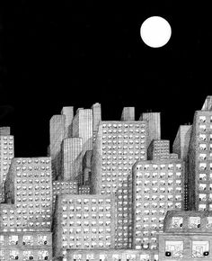 Full moon Digital Illustration, Graphic Illustration, Graphic Art, Georges Wolinski, Marie Claire, City Drawing, Invisible Cities, Building Drawing, Paris Match