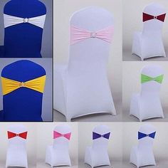 Spandex Stretch 50 Wedding Chair Cover Band Sashes With Buckle Bow Slider Decor Wedding Table Linens, Wedding Chairs, Stretch Chair Covers, Party Chairs, Cover Band, Lace Table Runners, Chair Sashes, Wedding Bows, Sliders