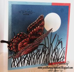 Night Flutter Marker Layering Tutorial. Stampin' Up's Swallowtail butterfly stamped card by Melissa Banbury. I love how she has made it look like the butterfly is flying. Has the complete tutorial including how to do the marker layering. Stunning card.