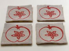 Red Apple fabric coaster-SET OF 4. $20.00, via Etsy.