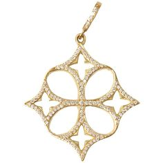 Loree Rodkin Yellow Gold Open Quatrefoil Clover Cross Pendant (10,770 NZD) ❤ liked on Polyvore featuring jewelry, pendants, necklaces, accessories, crosses, fine jewelry, yellow gold cross pendant, clover pendant, cross charm and cross pendant