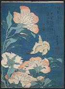 Peonies and Canary (Shakuyaku, kanaari), from an untitled series known as Small Flowers about 1834 (Tenpō 5)  Katsushika Hokusai, published by Nishimuraya Yohachi (Eijudō) Japanese, Edo Period. From Museum of Fine Arts, Boston.