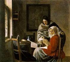 Jan Vermeer van Delft - Ein musizierendes Mädchen wird in ihrer musik unterbrochen