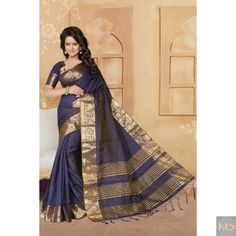 Get Ethnic Look By Wearing This Navy Blue Color Banarsi Silk Saree₹1,355