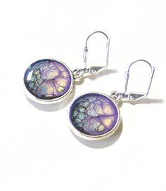 Blue Purple Silver Disc Dangle Earrings Leverback by JKCJewelry, $15.00