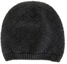 $128, Giorgio Armani Diamond Pattern Beanie Hat. Sold by farfetch.com. Click for more info: https://lookastic.com/men/shop_items/277738/redirect