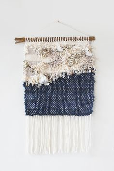 Neutrals & Navy Weaving Woven Wall Hanging by hellohydrangea