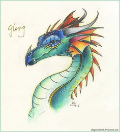 finally Wings of Fire fanart! God i love these books! i can't wait when the part will be realesed in my country. Have doodle from my sketchbook-my favorite dragonet- Glory! Fantasy Creatures, Mythical Creatures, Dragon Head Tattoo, Wings Of Fire Dragons, Dragon Dreaming, Gothic Fantasy Art, Dragon Sketch, Beautiful Dragon, Dragon Artwork