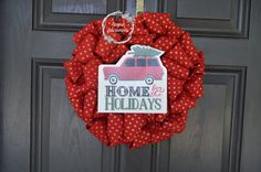 I love this sweet Christmas Tree Truck Wreath. Red Burlap with Gold Dots: Home for the Holidays. It's so cheerful!