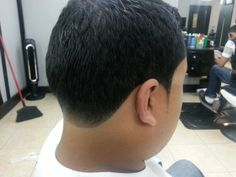 Edge up with a light tapered neck and pointy sideburns.