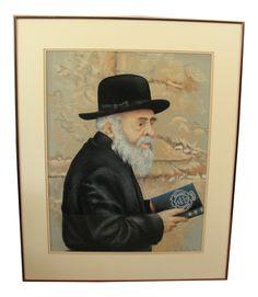 Pastel Portrait Jewish Man Rabbi by Leslie on Chairish.com