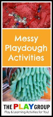 Messy playdough activities and a list of over 200 ways for kids to get messy and learn through play.