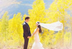 aspen fall bride and groom #fall #wedding #yellow