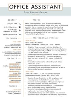 Resume Examples Office Office Assistant Resume Example Writing Tips Resume Genius Resume Writing Tips, Resume Skills, Resume Tips, Free Resume, Resume Help, Resume Review, Cv Tips, Writing Guide, Resume Ideas