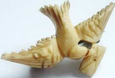 Victorian carved brooch ~ bird with love letter