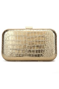 GOLD Show stopping croc embossed leather clutch perfect for any occasion. Big enough to fit your cell phone without compromising style  Signature hot pink interior  Snap closure  Inside pocket  21 drop shoulder strap  Dimensions: 8.25W x 3.5H x 2.5D Leather Rose Clutch by F&W STYLE. Bags - Clutches Georgia