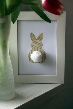 """Book Page Bunny Art. The website from which this image was pinned said, """"While the post is in German, it's not hard to see how to make this super cute book page bunny art. A great piece that is easy to make and perfect for the entryway or mantel. """""""