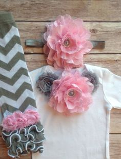 Pink Gray Grey Baby Girl Outfit Baby Girl by AvaMadisonBoutique, $41.00
