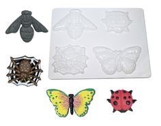 R52026 Bug Molds Ages 5+ Beautifully detailed molds. Fill the see-through molds with papier mâché, let dry and pop out. Decorate with paint. Excellent results! Projects can be simple or detailed. Great for any age. 4 designs.