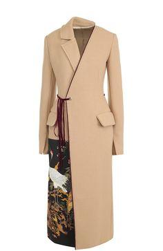 Приталенное шерстяное пальто с принтованной отделкой Act n1, бежевого цвета, арт. PFC1705 в ЦУМ | Фото №1