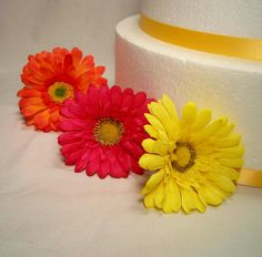 MADE TO ORDER Gerbera Daisy Silk Flower Wedding Cake Layer Accents - Extra Flowers Set of Three (3) on Etsy, $5.00