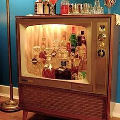 I love this! Hilarious and a good way to re-use an old television. I would line the inside with mirrors to really glam it up, though.