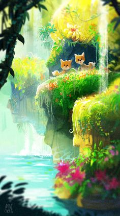 LEE — This is the adventure story of the twin foxes. Fantasy Landscape, Landscape Art, Fantasy Art, Casa Anime, Illustrations, Illustration Art, Environment Concept Art, Anime Scenery, Environmental Art