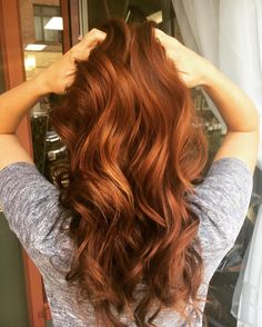 Long Wavy Pumpkin Spice Colored Hair