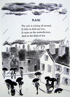 """""""Rain"""" - From """"A Child's Garden of Verses"""" by Robert Louis Stevenson, 1944 edition illustrated by Roger Duvoisin"""