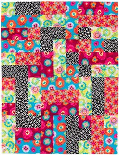 """""""3,6,9 Quilt"""" modular quilt design by Kayt from Australia.  Fat quarters were cut into 3.5"""" widths, then into 3.5"""" squares, 3.5"""" x 6.5"""" rectangles, and 3.5"""" x 9.5"""" rectangles.  The units always go together, no matter which way you combine them."""