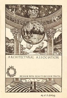 Bookplate for the Architectural Association by William Richard Lethaby, 1889