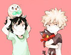 Boku no Hero Academia x Pokemon    Rowlet, Midoriya Izuku, Litten, Katsuki Bakugou.