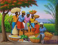 Market under the Flamboyan by Michelet Edouard Art Village, Jamaican Art, Afrique Art, African Art Paintings, Haitian Art, Art Optical, Caribbean Art, Black Love Art, Tropical Art