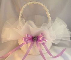 Custom Organza Flower Girl Basket