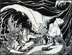 Dorothy P. Lathrop – Illustration from Tales from the Enchanted Isles 1926 Art And Illustration, Mermaid Illustration, Ink Illustrations, Hans Christian, Water Nymphs, Mermaid Coloring, Vintage Mermaid, Mermaids And Mermen, Woodland Creatures