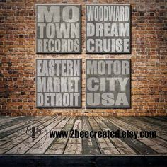 Detroit Subway Print or Canvas ~ Made by 2BeeCreated #etsygifts - Gifts for Dads who Love Detroit.  These four pieces look amazing as a set or individually on your wall. Paying tribute to iconic Detroit, this is a perfect addition to your office or home and great for gifting!  Want us to create a piece just for you, let us know!  Motown Records, Woodward Dream Cruise, Eastern Market Detroit, Motor City USA, Make your own Subway Piece or Collection from your Favorite City or Location! @etsy
