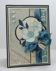 SU Card.  Stamp: Fabulous Florets. Paper: Fan Fair DSP, First Edition DSP. Ribbon: Very Vanilla Seam Binding (dyed).