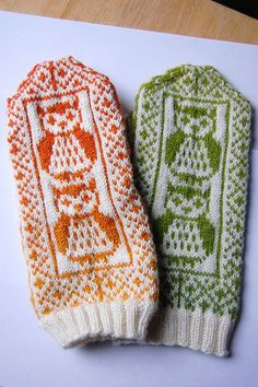 owl mittens! This might get me to knit mittens in two colors...