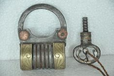 """Beautiful Padlock For Ethnic Decor -- 1930s Old Iron Handcrafted Brass Fitted Screw System Padlock  With Rich Patina   Get it from our online store:  Singhalexportsjodhpur.Com and search for """"36211"""" in the search box  Use code EARLYBRD5 to get amazing discounts.  LALJI HANDICRAFTS - WORLDWIDE SHIPPING - EXCLUSIVE HANDICRAFTS  INDIAN DECOR INDUSTRIAL DECOR VINTAGE DECOR POP ART MOVIE POSTERS VINTAGE MEMORABILIA FRENCH REPLICA 