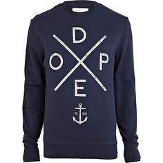 Navy dope print sweatshirt - sweatshirts - hoodies / sweatshirts - men ($20-50) - Svpply