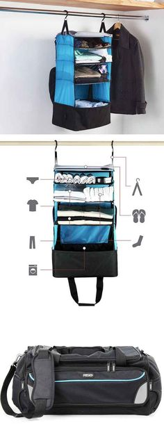 Invest in a duffle bag that turns into a portable closet.