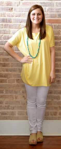 Short Sleeve Piko Top in Yellow!  Check out www.studio3-19.com for a great assortment of women's and men's clothing, shoes, and accessories along with great gift ideas and more!  -Studio 3:19