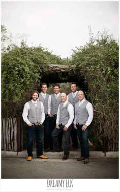 groom and groomsmen in vests and cowboy boots, fall wedding photo, hideout on the horseshoe, canyon lake, texas {dreamy elk photography and design}
